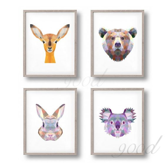 Find More Painting Calligraphy Information About Triangle Animal Set Canvas Art Print Painting