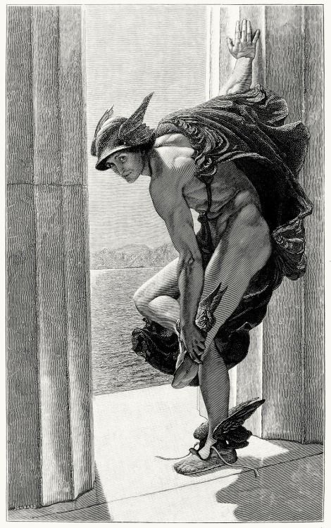 """""""Hermes"""", after a painting by W.B.RICHMOND From """"The Magazine of Art"""", vol. 9, London, Paris, New York, Melbourne, 1886"""