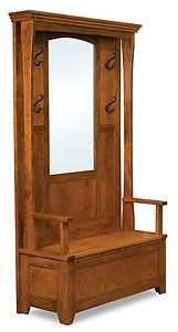 foyer benches with coat racks and mirror | Amish Rustic Wood Hall Tree  Storage Bench Mirror