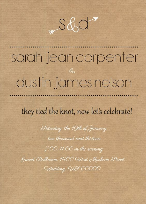 Rustic reception invite. I like the wording of this, especially if ...
