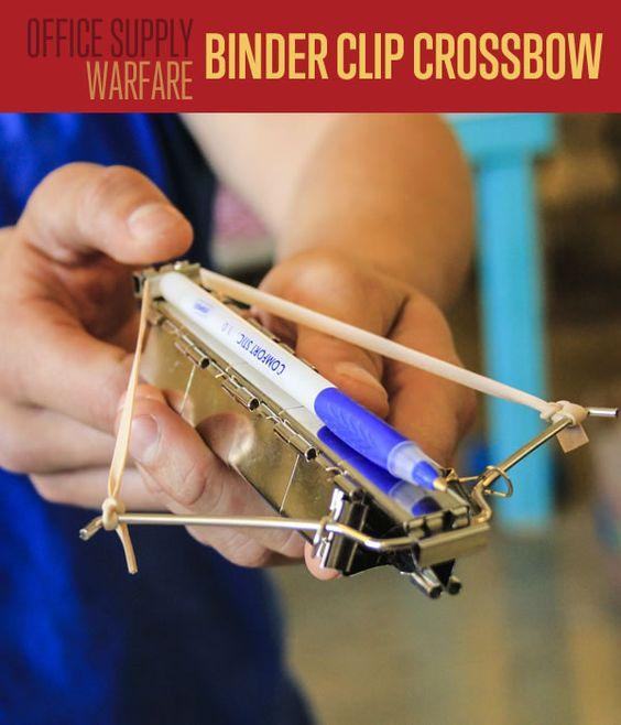DIY Office Supply Weapons | Binder Clip Crossbow #DIYReady www.diyready.com