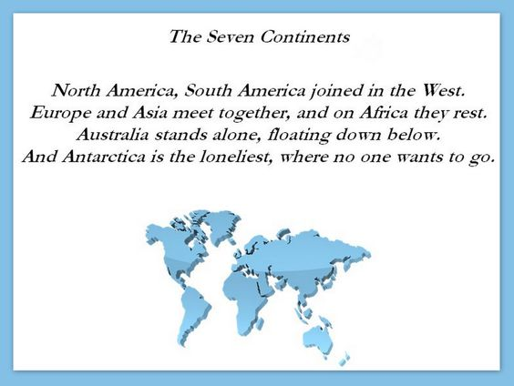 Visit all seven continents - I want to go to Antarctica, so this poem is a little off :)