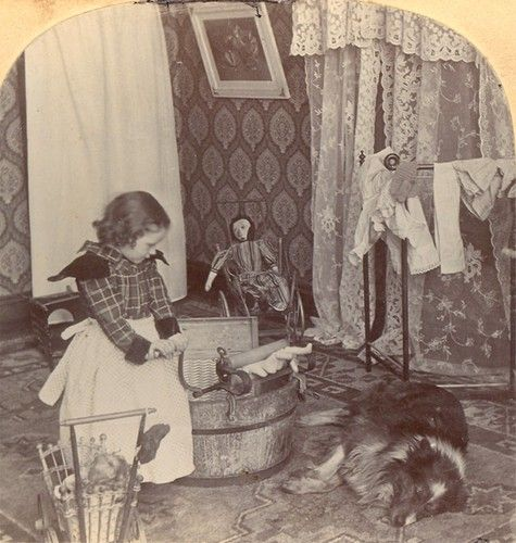 Girl Washing Her Old Antique Doll Stereoview
