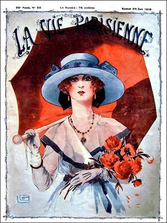 La Vie Parisienne Woman w Parasol and Flowers June 29, 1918 Georges Léonnec