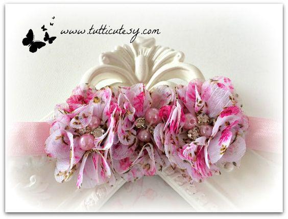 Pink Floral Flower Headband by tutticutesytutus on Etsy