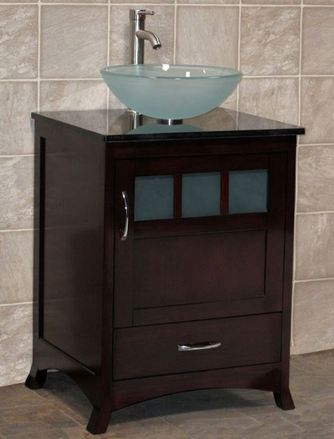 24 Bathroom Vanity Black Granite Top With Glass Vessel Sink