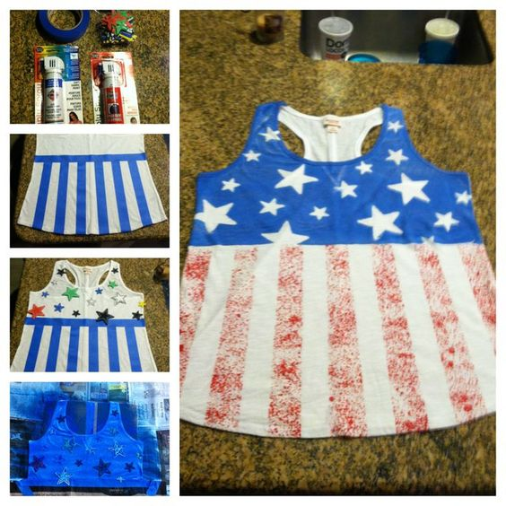 DIY America Tank Top. I might try this or make one more like the actual flag. Idk yet