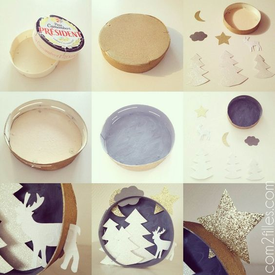 tuto upcycling - boite camembert - tableau noel - papier: