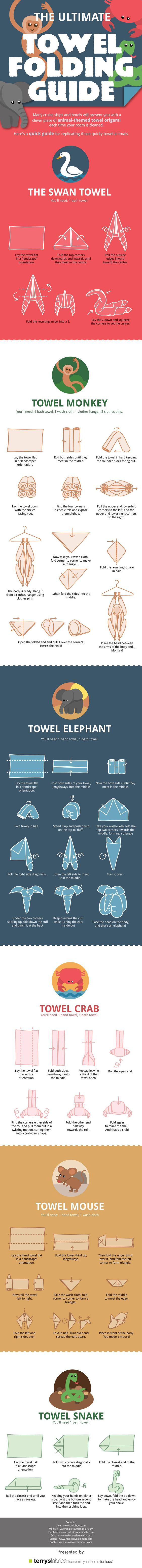 How to fold towels into animals. Maybe this is how you encourage guests to come visit?