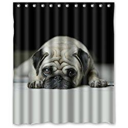 Cute Pug Dog Shower Curtain 100 Polyester Waterproof 60 W X 72