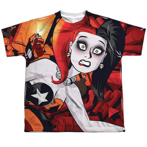 Harley Quinn: Harley Cooke Cover Sublimated Youth T-Shirt