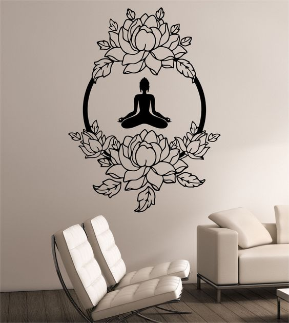 namaste yoga lotus and wall decals on pinterest. Black Bedroom Furniture Sets. Home Design Ideas