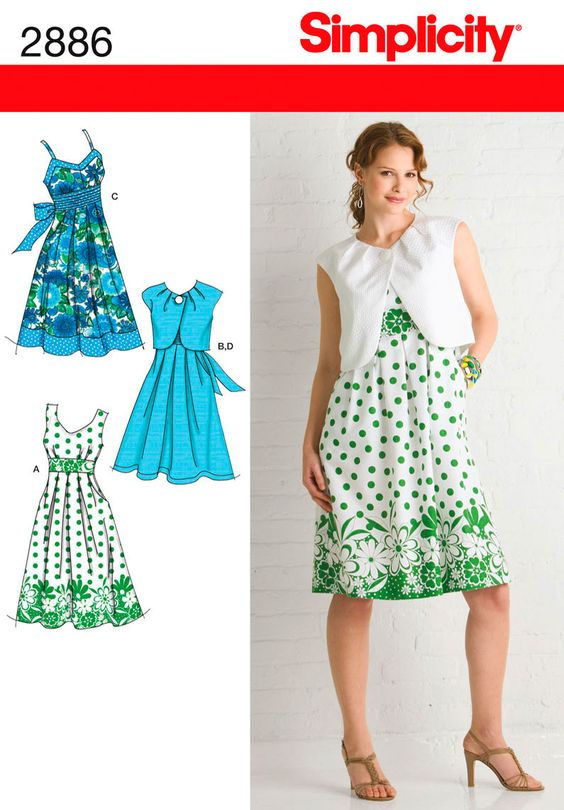 Womens Dresses and Bolero Pattern 2886 SimplicityPatterns