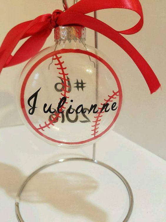 Baseball/Softball Christmas Ornament Clear Flat Bulb Ornament Christmas Ornament Baseball/Softball Gift Personalized
