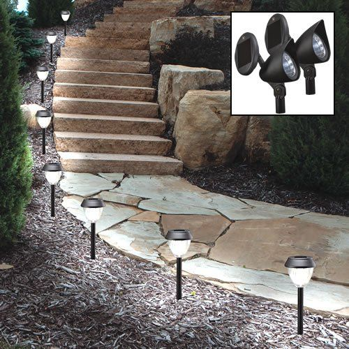 Westinghouse 400079 08 Solar Light Set Includes 8 Apollo Pathlights And 2 Spotlights Solar Lights Outdoor Solar Lights Solar