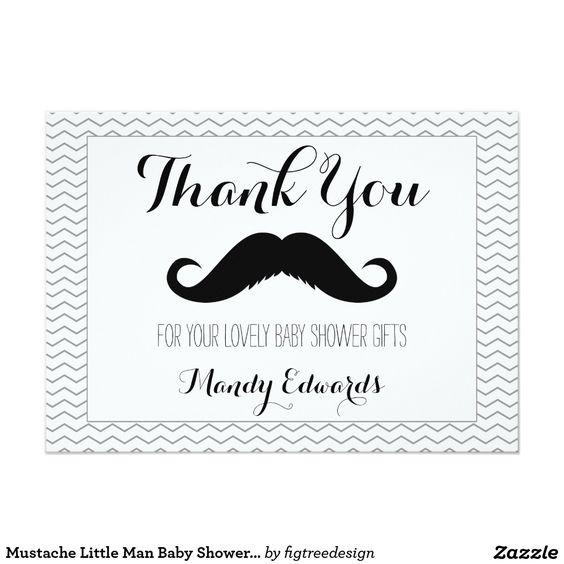 Mustache Little Man Baby Shower Thank You Card
