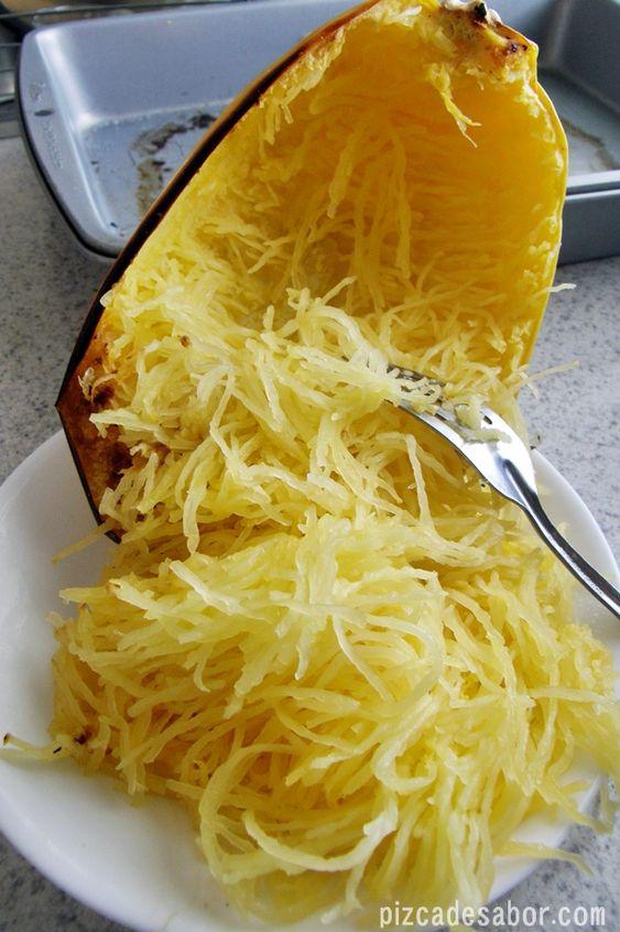 Cómo cortar y cocinar la calabaza espagueti (Spaguetti squash)   Pizca de Sabor