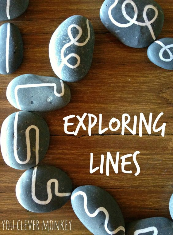 Exploring Lines: using hand drawn lines on rocks for play. Challenging pre-writers to distinguish between straight and curved lines to help build their understanding of shape and help establish correct letter and number formation later | you clever monkey
