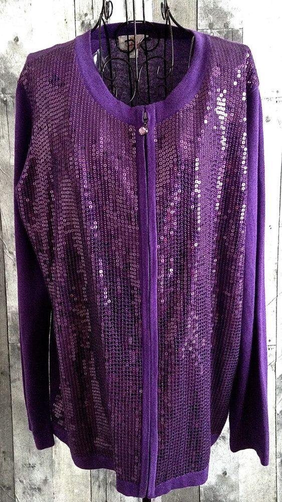 Quacker Factory QVC Sequin Cardigan Sweater Top Purple Rhinestone ...