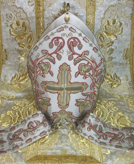 Antique French  Ecclesiastical Bishops Mitre Gold Metallic Embroidery  Baroque Vestment