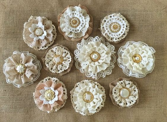 10 burlap and lace rustic handmade flowers  shabby von PinKyJubb