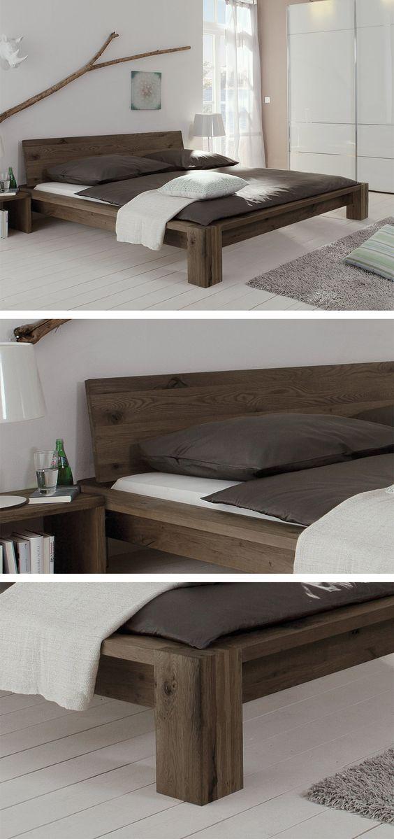 massives holzbett aus geb rsteter wildeiche ge lt in drei verschiedenen farben massiv. Black Bedroom Furniture Sets. Home Design Ideas