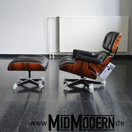 Eames Lounge Chair & Ottoman, Herman Miller 2013 - Santos-Palisander, black anilin leather