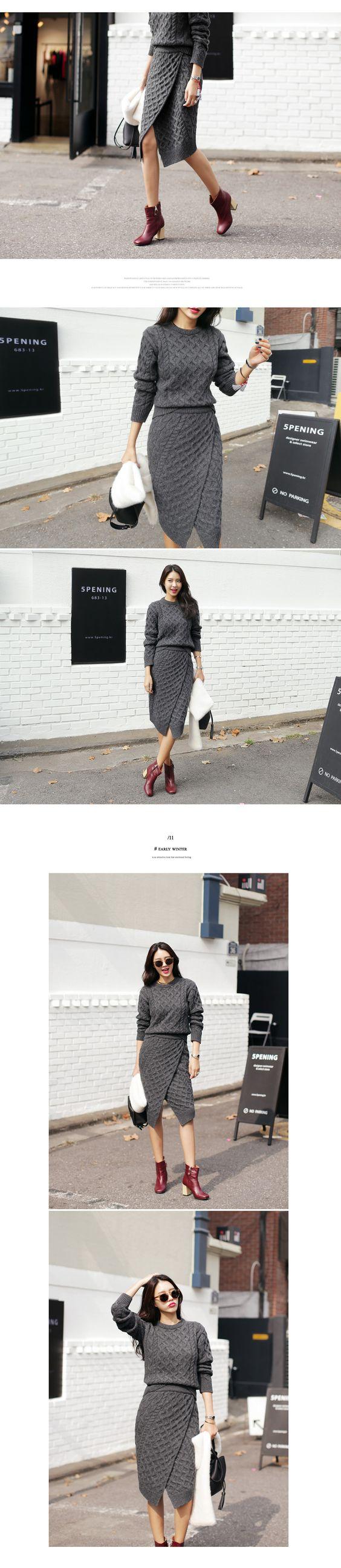 ケーブルニットラップミディスカート・全3色スカートスカート レディースファッション通販 DHOLICディーホリック [ファストファッション 水着 ワンピース]