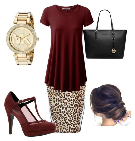 """Maroon and leopard... My two favorite things!"" by danielle-ash92 on Polyvore featuring River Island, Call it SPRING and Michael Kors"