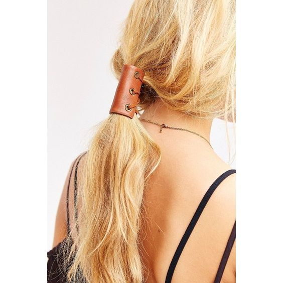 Leather Corset Pony Tail Holder ($12) ❤ liked on Polyvore featuring accessories, hair accessories and leather hair accessories