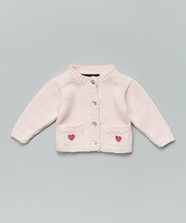 Another great find on #zulily! Light Pink & Mauve Heart Cardigan - Infant by Loralin Design #zulilyfinds