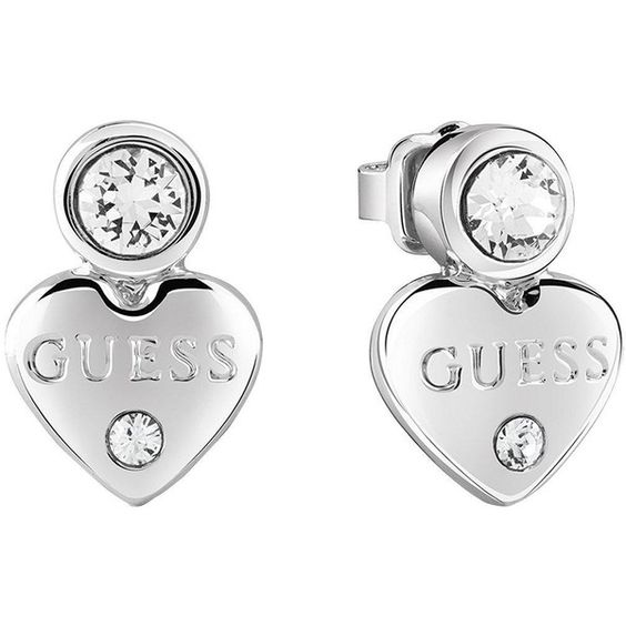 Guess Rhodium Plated Mini Heart Earrings ($31) ❤ liked on Polyvore featuring jewelry, earrings, rhodium plated jewelry, heart shaped stud earrings, guess jewelry, swarovski crystal earrings and heart earrings