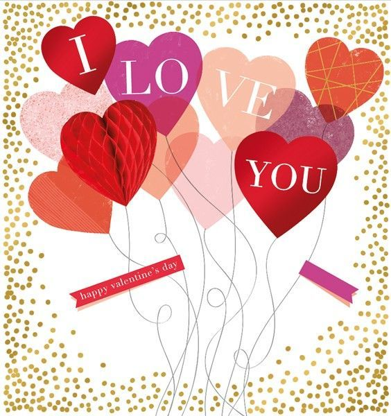 Happy Valentines Day Card I Love You Heart Shape Balloons Valentines For Wife Hu Happy Valentines Day Card Happy Valentines Day Wife Happy Valentines Day