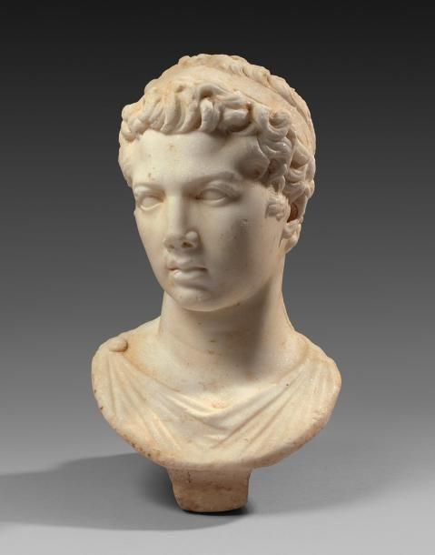 Portrait de Juba II, roi de Maurétanie de 25 av. J.-C. à 23 apr. J.-C. Il est représenté jeune, le visage tourné vers la droite, imberbe, la bouche légèrement entrouverte aux lèvres pleines et sensuelles.… - Siboni - 13/12/2015