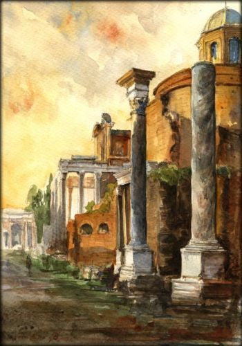 Original art watercolor painting and ruins on pinterest for Ancient roman mural
