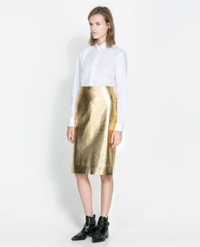 Details about ZARA STUDIO METALLIC 100% LEATHER SKIRT gold midi ...