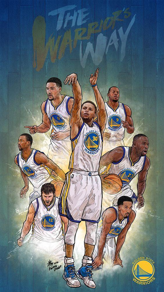 NBA Phone Wallpaper - Artist: Kim MinSuk (김민석) #Yellowmenace #basketballart #GSW…