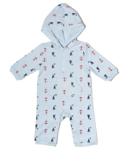 """Leveret """"Designed"""" Hooded One Piece Romper (18-24 Months, Boats). Built-in hood, Three-button henley placket, Kangaroo pocket. Snaps along inseam for easy dressing and diaper changing. Gusseted for ease of movement. 100% 210 GSM Cotton. Thicker cotton for colder weather."""