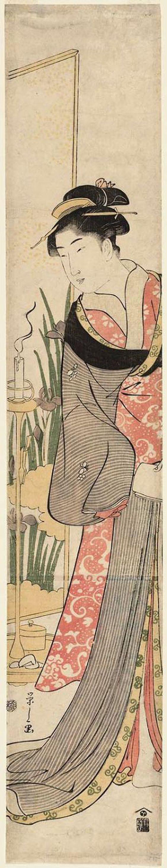Eishi Hosoda / Junge Frau im Irisgarten