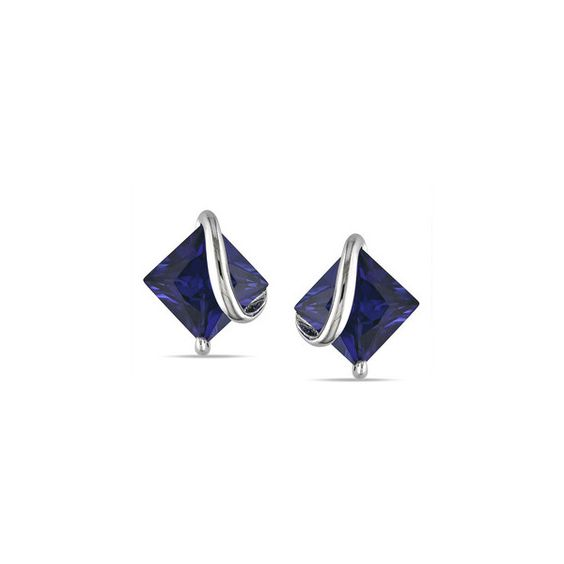 M by Miadora Sterling Silver Created Sapphire Stud Earrings (150 BRL) ❤ liked on Polyvore featuring jewelry, earrings, stud earrings, holiday jewelry, sapphire earrings, sterling silver stud earring set and sterling silver earrings