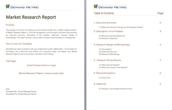 Market Research Report   A Formal Report Template That Will Help   Executive  Summary Report Template  Executive Summary Report Template