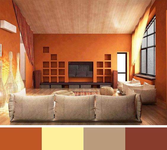 Warm modern and colors on pinterest for Color designs for living room