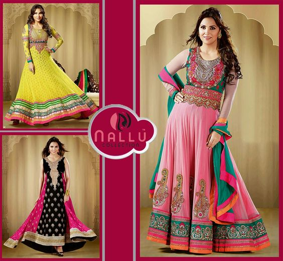 Delightful Lara Dutta with small burst of colour for A wardrobe with faux georgette anarkali suit with chiffon dupattam having embroidered yoke based on Lace work, patch work, resham work, stones work, which personifies the whole appearance.  http://www.nallucollection.com/catalogsearch/result/?q=lara