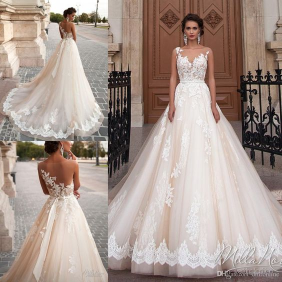 Stunning 2016 Milla Nova Princess Wedding Dresses A Line Sheer Neck Illusion Back Lace Appliques Bead Court Train Tulle Vintage Bridal Gown Sweetheart Neckline A Line Wedding Dress Wedding Bride Dresses From Dmronline, $140.11| Dhgate.Com: