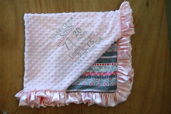 Birth Announcement Blanket....fabric 52 by FourLoves on Etsy