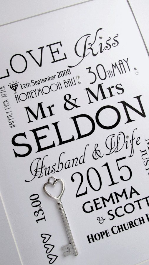 Large Lucky Key Wedding Print Personalised by WowLoveThisDesigns