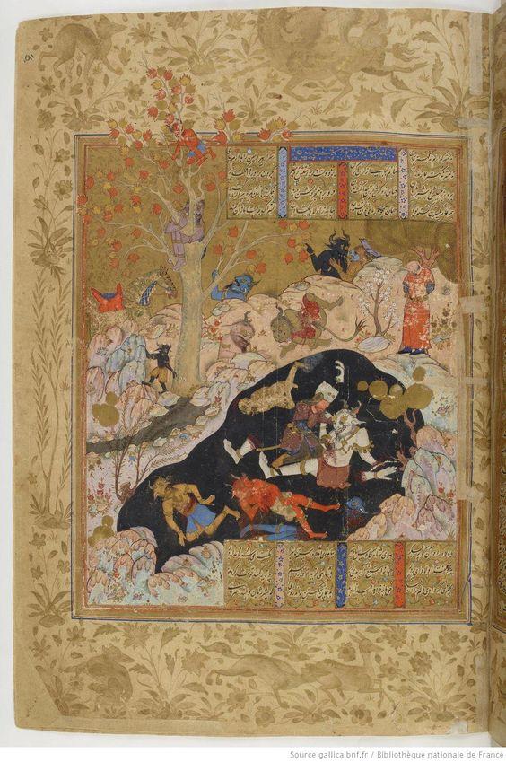 """Rustam et le div blanc (endormi dans sa caverne, 7e épreuve), in """"Shâhnâmeh"""" (Le Livre des rois), édition: 1576 fol. 222v, auteur: Ferdowsi (940-1020), manuscrit BNF Supplément Persan 2113"""