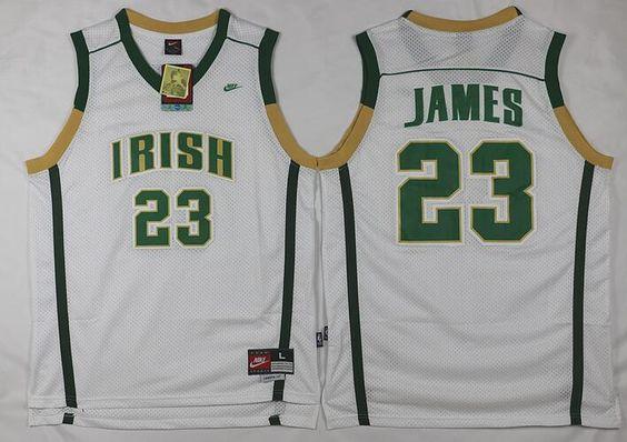 91b877c72 ... Mens The Fighting Irish 23 Lebron James White Soul Swingman High School  Basketball Jersey NBA jersey ...