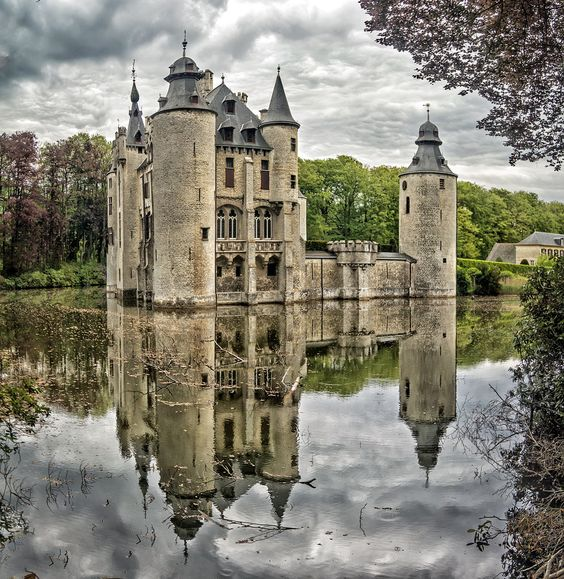 This castle is in the middle of a park with beautiful woods in the Flanders region of Belgium.