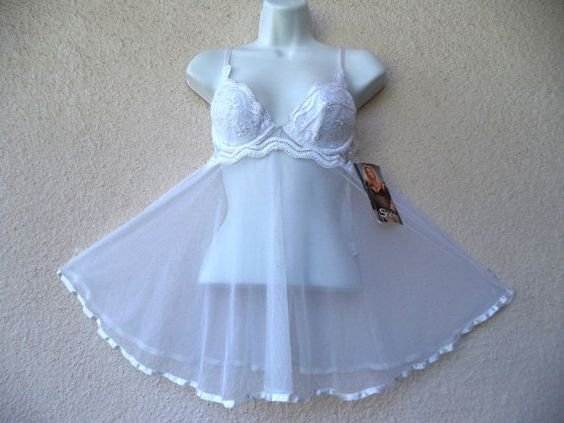 1990s Shirley of Hollywood Babydoll Gown by TimeAndAgainFashions